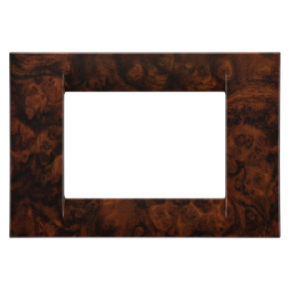 VIRNA PLATE - IN TECHNOPOLYMER - 3 GANG - ENGLISH WALNUT - SYSTEM