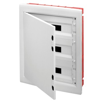 Distribution boards with windowed panels and 80 A IP20 bipolar screw terminal block and extractable frame White RAL 9016