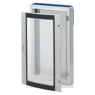 CVX DISTRIBUTION BOARD 160E - SURFACE-MOUNTING - 600x800x200 - IP40 - WITH CURVED GLASS DOOR - WITH EXTRACTABLE FRAME- GREY RAL7035