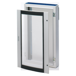 CVX DISTRIBUTION BOARD 160E - SURFACE-MOUNTING - 600x1200x200 - IP55 - WITH CURVED GLASS DOOR - WITH EXTRACTABLE FRAME- GREY RAL7035