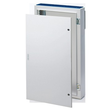Monobloc distribution boards in painted sheet steel - Colour grey RAL 7035 Solid sheet metal door equipped with 2 locks - With extractable frame