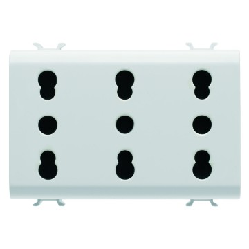Italian standard triple socket-outlet - 250V ac