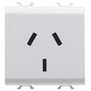 ARGENTINIAN STANDARD SOCKET-OUTLET 250V ac - 2P+E 10A - 2 MODULES - WHITE - CHORUS