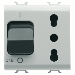 INTERLOCKED SWITCHED SOCKET-OUTLET - 2P+E 16A P17/P11 - WITH MINIATURE CIRCUIT BREAKER 1P+N 16A - 230V ac - 2 MODULES - WHITE - CHORUS.