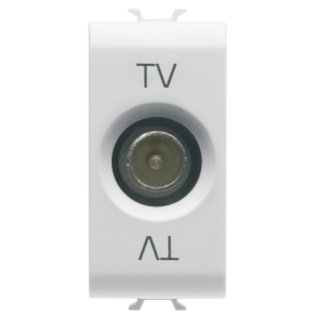 COAXIAL TV SOCKET-OUTLET, CLASS A SHIELDING - IEC MALE CONNECTOR 9,5mm - DIRECT WITH CURRENT PASSING - 1 MODULE - WHITE - CHORUS
