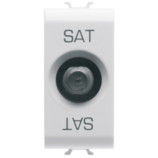 COAXIAL TV/SAT SOCKET-OUTLET, CLASS A SHIELDING - FEMALE F CONNECTOR - FEEDTHROUGH 10 dB - 1 MODULE - WHITE - CHORUS