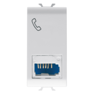 ISRAELI STANDARD TELEPHONE SOCKET - 6 CONTACTS - SCREW-ON TERMINALS - 1 MODULE - WHITE - CHORUS