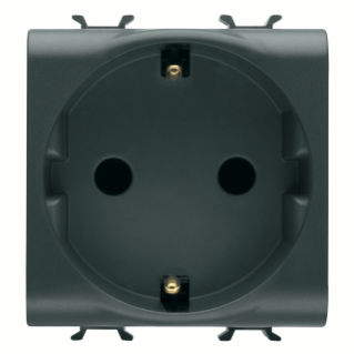 GERMAN STANDARD SOCKET-OUTLET 250V ac - FRONT TIGHTENING TERMINALS - 2P+E 16A - 2 MODULES - BLACK - CHORUS