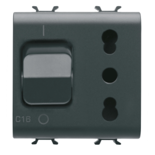 INTERLOCKED SWITCHED SOCKET-OUTLET - 2P+E 16A P17/P11 - WITH MINIATURE CIRCUIT BREAKER 1P+N 16A - 230V ac - 2 MODULES - BLACK - CHORUS.