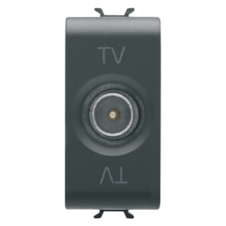 COAXIAL TV SOCKET-OUTLET, CLASS A SHIELDING - IEC MALE CONNECTOR 9,5mm - FEEDTHROUGH 10 dB - 1 MODULE - BLACK - CHORUS