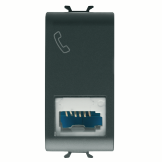 ISRAELI STANDARD TELEPHONE SOCKET - 6 CONTACTS - SCREW-ON TERMINALS - 1 MODULE - BLACK - CHORUS