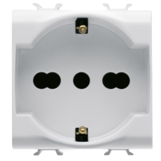 ITALIAN/GERMAN STANDARD SOCKET-OUTLET 250V ac - 2P+E 16A DUAL AMPERAGE - 2 MODULES - WHITE - CHORUS