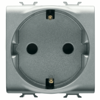 GERMAN STANDARD SOCKET-OUTLET 250V ac - 2P+E 16A - 2 MODULES - TITANIUM - CHORUS