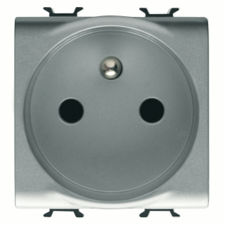 FRENCH STANDARD SOCKET-OUTLET 250V ac - QUICK WIRING TERMINALS - 2P+E 16A - 2 MODULES - TITANIUM - CHORUS