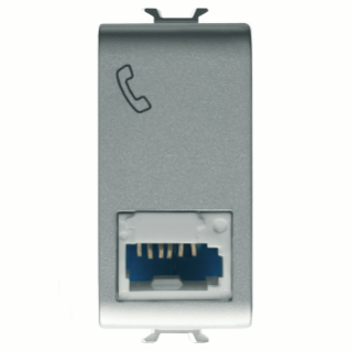 ISRAELI STANDARD TELEPHONE SOCKET - 6 CONTACTS - SCREW-ON TERMINALS - 1 MODULE - TITANIUM - CHORUS