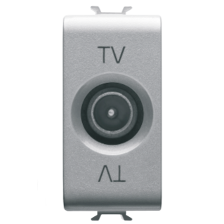 COAXIAL TV SOCKET-OUTLET, CLASS A SHIELDING - IEC MALE CONNECTOR 9,5mm - FEEDTHROUGH 5 dB - 1 MODULE - TITANIUM - CHORUS