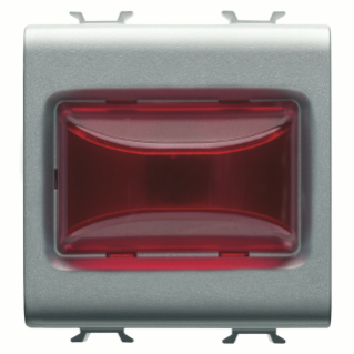 PROTRUDING INDICATOR LAMP - 12V ac/dc / 230V ac 50/60 Hz - RED - 2 MODULES - TITANIUM - CHORUS