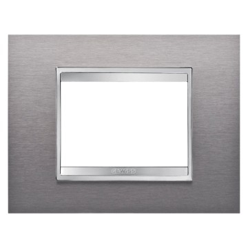 LUX PLATE - METAL - 3 GANG - BRUSHED STAINLESS STEEL - CHORUS