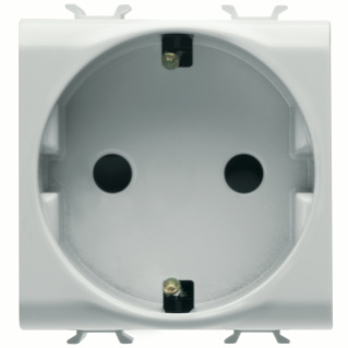 GERMAN STANDARD SOCKET-OUTLET 250V ac - QUICK WIRING TERMINALS - 2P+E 16A - 2 MODULES - WHITE - CHORUS