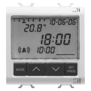 CLOCK, ALLARM, THERMOMETER - 230V ac 50/60Hz - 2 MODULES - WHITE - CHORUS