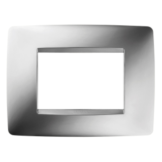 ONE PLATE - IN METALLISED TECHNOPOLYMER - 3 GANG - CHROME - CHORUS