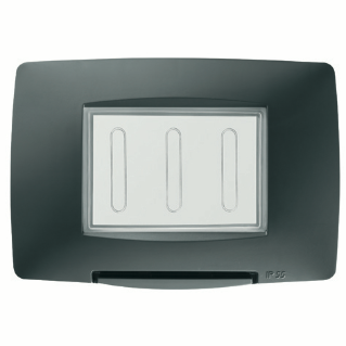 WATERTIGHT PLATE ITALIAN STANDARD - 3 GANG IP55 - BLACK - CHORUS
