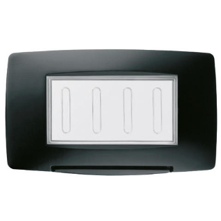 WATERTIGHT PLATE ITALIAN STANDARD - 4 GANG IP55 - BLACK - CHORUS