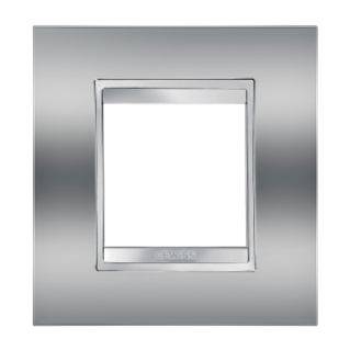 LUX INTERNATIONAL PLATE - IN METALLISED TECHNOPOLYMER - 2 GANG - CHROME - CHORUS