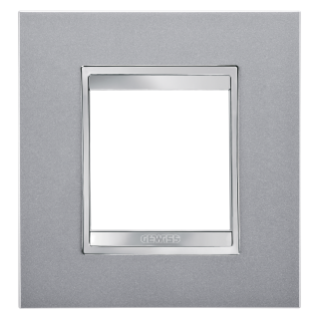 LUX INTERNATIONAL PLATE - IN PAINTED TECHNOPOLYMER - 2 GANG - TITANIUM - CHORUS