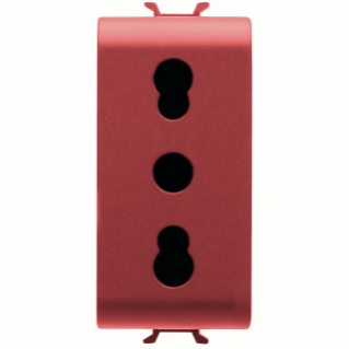 ITALIAN STANDARD SOCKET-OUTLET 250V ac - FOR DEDICATED LINES - 2P+E 16A DUAL AMPERAGE - P11-P17 - 1 MODULE - RED - CHORUS