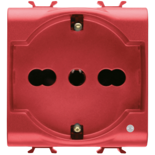 ITALIAN/GERMAN STANDARD SOCKET-OUTLET 250V ac - FOR DEDICATED LINES - 2P+E 16A DUAL AMPERAGE - P30-P17 - 2 MODULES - RED - CHORUS