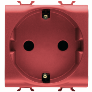 GERMAN STANDARD SOCKET-OUTLET 250V ac - QUICK WIRING TERMINALS - FOR DEDICATED LINES - 2P+E 16A - 2 MODULES - RED - CHORUS