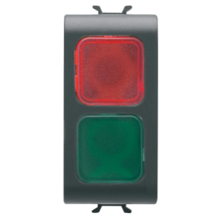 DOUBLE INDICATOR LAMP - RED/GREEN - 1 MODULE - BLACK - CHORUS