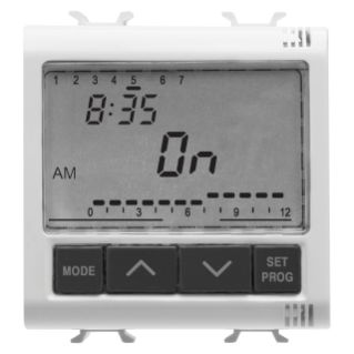 ELETRONIC DAILY/WEEKLY TIMER, 1-CHANNEL - 230V ac 50/60Hz - 2 MODULES - WHITE - CHORUS
