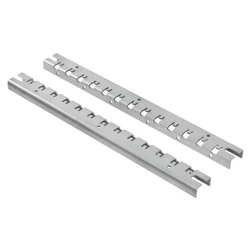 Pair of uprights for installation of Fast & Easy quick assembly technical components, for modular devices, moulded-case devices, switch- disconnectors and blank/perforated plates H = 1 and 2 modules
