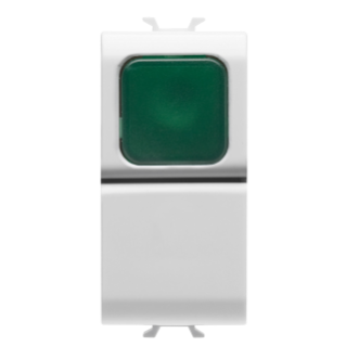 PUSH-BUTTON 1P 250V ac - NO 16A -  GREEN DIFFUSER - 1 MODULE - WHITE - CHORUS