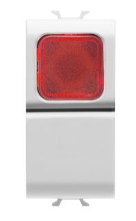 PUSH-BUTTON 1P 250V ac - NO 16A -  RED DIFFUSER - 1 MODULE - WHITE - CHORUS