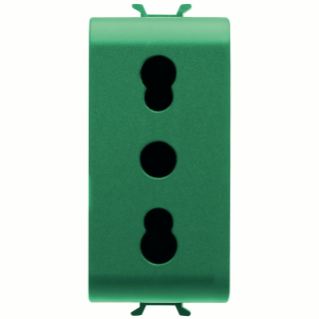 ITALIAN STANDARD SOCKET-OUTLET 250V ac - FOR DEDICATED LINES - 2P+E 16A DUAL AMPERAGE - P11-P17 - 1 MODULE - GREEN - CHORUS