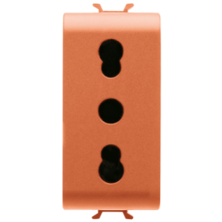 ITALIAN STANDARD SOCKET-OUTLET 250V ac - FOR DEDICATED LINES - 2P+E 16A DUAL AMPERAGE - P11-P17 - 1 MODULE - ORANGE - CHORUS