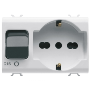 INTERLOCKED SWITCHED SOCKET-OUTLET - 2P+E 16A P40 - WITH MINIATURE CIRCUIT BREAKER 1P+N 16A - 230V ac - 3 MODULES - WHITE - CHORUS.