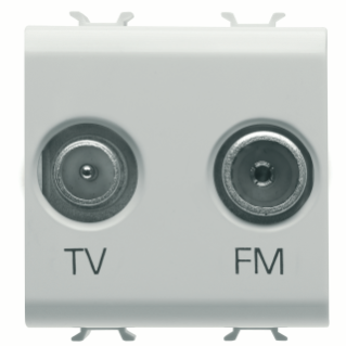 SOCKET-OUTLET TV-FM - DIRECT - 2 MODULES - WHITE - CHORUS