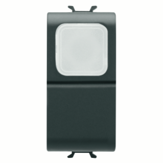 PUSH-BUTTON 1P 250V ac - NO 16A -  OPAL DIFFUSER - 1 MODULE - BLACK - CHORUS