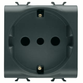 ITALIAN/GERMAN STANDARD SOCKET-OUTLET 250V ac - 2P+E 16A - P30 - 2 MODULES - BLACK - CHORUS