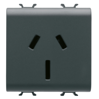 AUSTRALIAN STANDARD SOCKET-OUTLET 250V ac - 2P+E 15A - 2 MODULES - BLACK - CHORUS