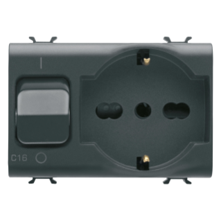 INTERLOCKED SWITCHED SOCKET-OUTLET - 2P+E 16A P40 - WITH MINIATURE CIRCUIT BREAKER 1P+N 16A - 230V ac - 3 MODULES - BLACK - CHORUS.