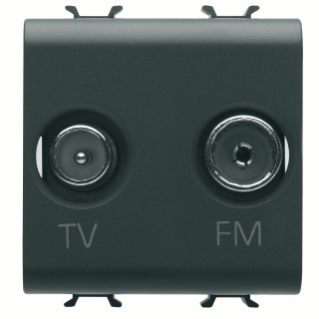 SOCKET-OUTLET TV-FM - DIRECT - 2 MODULES - BLACK - CHORUS