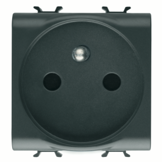 FRENCH STANDARD SOCKET-OUTLET 250V ac - QUICK WIRING TERMINALS - 2P+E 16A - 2 MODULES - BLACK - CHORUS