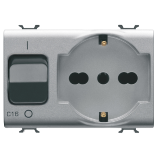 INTERLOCKED SWITCHED SOCKET-OUTLET - 2P+E 16A P40 - WITH MINIATURE CIRCUIT BREAKER 1P+N 16A - 230V ac - 3 MODULES - TITANIUM - CHORUS.
