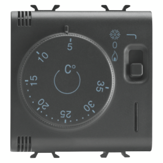 THERMOSTAT - 230V ac 50/60Hz - 2 MODULES - BLACK - CHORUS