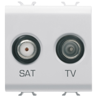 SOCKET-OUTLET TV-SAT - DIRECT - 2 MODULES - WHITE - CHORUS